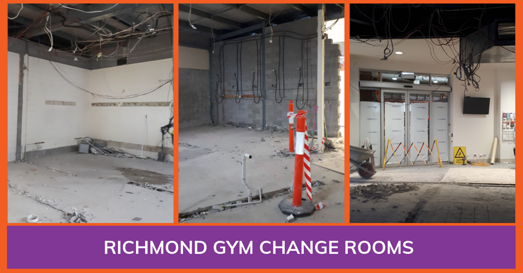 3 photos in a collage of the demolished change rooms