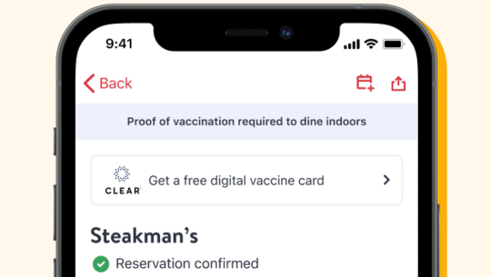 Image shows a restaurant listing on the OpenTable app. It displays a note that proof of vaccination is required to dine indoors.