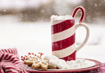Photo of mug of hot chocolate and cookies