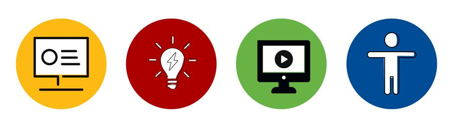Banner of icons: presentation screen, light bulb, computer screen, and accessibility symbol