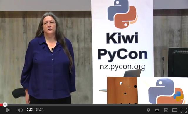 Brenda presenting at Kiwi PyCon