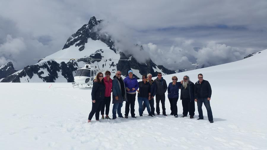 Southland Conservation Board members and Department staff on Ngāpunatoru Glacier.