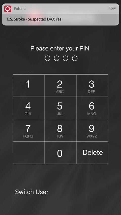 ios PIN screen with alert
