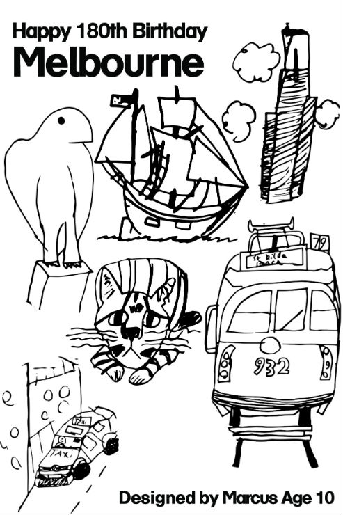Download the 2015 Melbourne birthday card to colour-in
