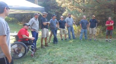 Veterans at the spring 2016 American Heroes event gather for a day of fishing, shooting, networking, and camaraderie near Fort Pickett in Virginia. Courtesy: Ward Burton.