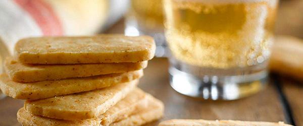 Photo of savoury shortbread stacks.