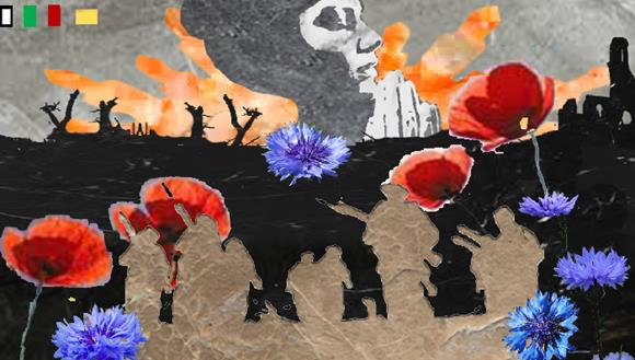 An artist impression of the mosaics with soldiers outlined in brown against a backdrop of coloured flowers, a black battlefield and a woman praying