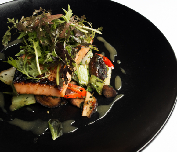Recipe of the Month - Organic salmon with raw shaved vegetable and avocado salad with ginger and sesame dressing