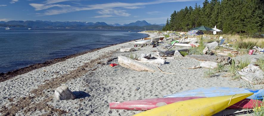 Boats and umbrellas line the beaches of Savary Island.