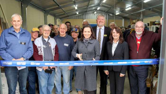 People at the new Broadford Mens Shed cutting ribbon for the official opening