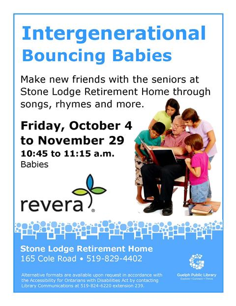 Join us at Stone Lodge Retirement Home located at 165 Cole Road, Guelph, N1G 4N9 for this interactive program. Ages birth to two years.