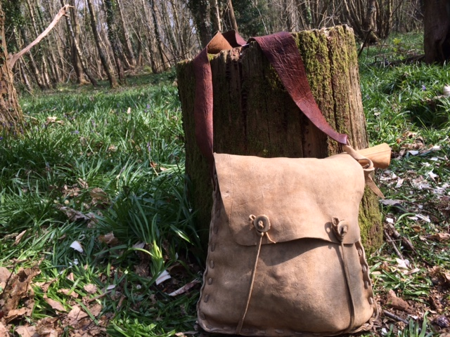 Buckskin haversack with bark tanned strap and antler buttons