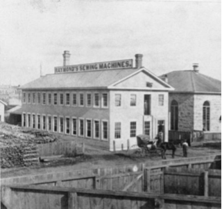 This photograph from 1870 shows the original Raymond Sewing Machine factory on Yarmouth Street. It was destroyed by fire in 1875. The building on the right is the old Knox Church.  Guelph Public Library Archives: CA ON00126 F38-0-14-0-0-414