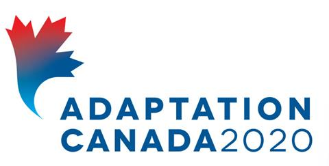 """The Adaptation Canada logo. A blue and red stylized maple leaf with the words """"adaptation canada"""" in all caps."""
