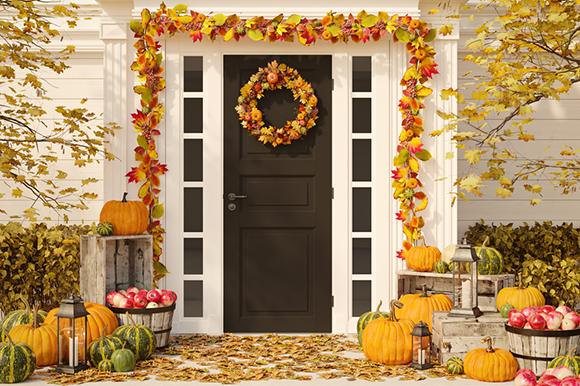 Decorative fall front porch