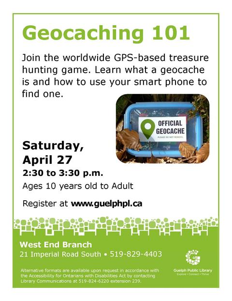 Register for our Geocaching 101 event on Saturday April 27 at 2:30pm in our West End Branch. This family event will demonstrate what a geocache is and how to use your smart phone to find one.