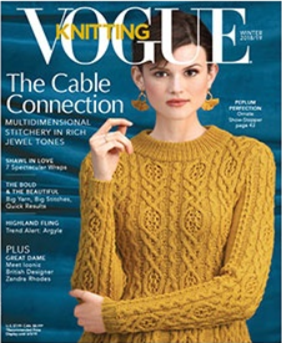 This is the cover image for Vogue Knitting winter 2019. The model is wearing a cable knit sweater in a solid gold/yellow yarn. Some of the articles include: the cable connection, multidimensional sitichery in rich jewel tones. Shawl in love, 7 spectacurlar wraps. The bold and the beautiful, big yarn big stitches quick results.