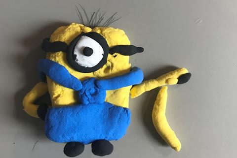 Picture of a Minion character made from playdough