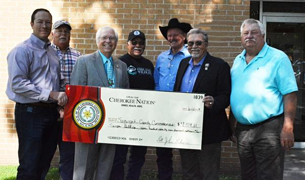 Cherokee nation present check to Sequoyah County