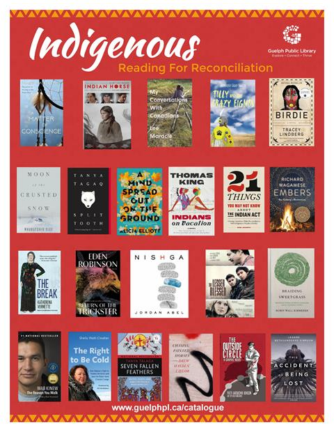 A selection of book covers on the theme of reading for Reconciliation. Ask a librarian for a full list at askus@guelphpl.ca