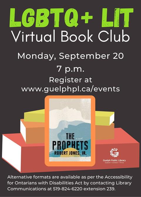 Library advertisement for the online LGBTQ+ Lit Book Club on September 20 at 7 p.m. Registration is required.