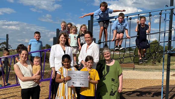 Cr Louise Bannister and son Hamish, Mayor Cr Rhonda Sanderson, Member for Northern Victoria Jaclyn Symes and Cr Fiona Stevens at Ryans Creek Reserve.