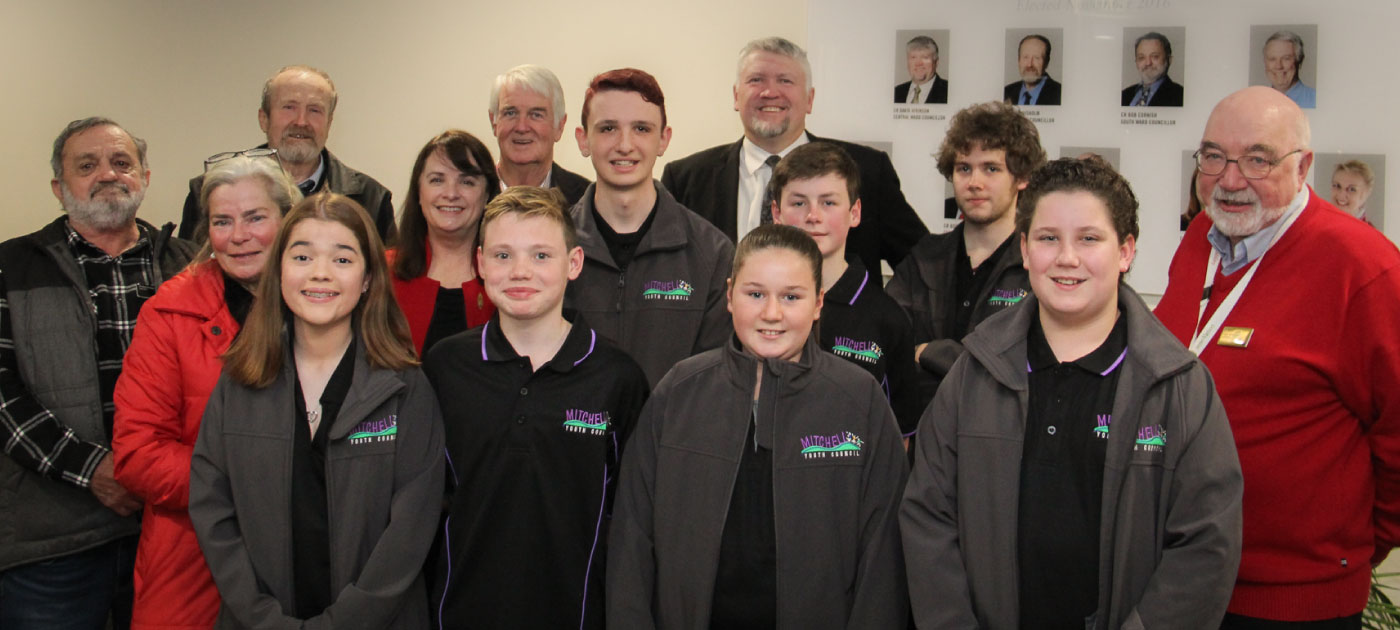 Youth Council members with Mitchell Shire Councillors in the foyer of the Broadford Civic Centre Council Chamber