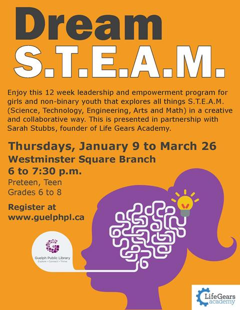 This is the publicity for our Dream S.T.E.A.M. event that runs for 12 weeks starting on Thursday January 9 at our Westminster Square Branch at 6 p.m for girls and non-binary youth in grades 6 to 8.