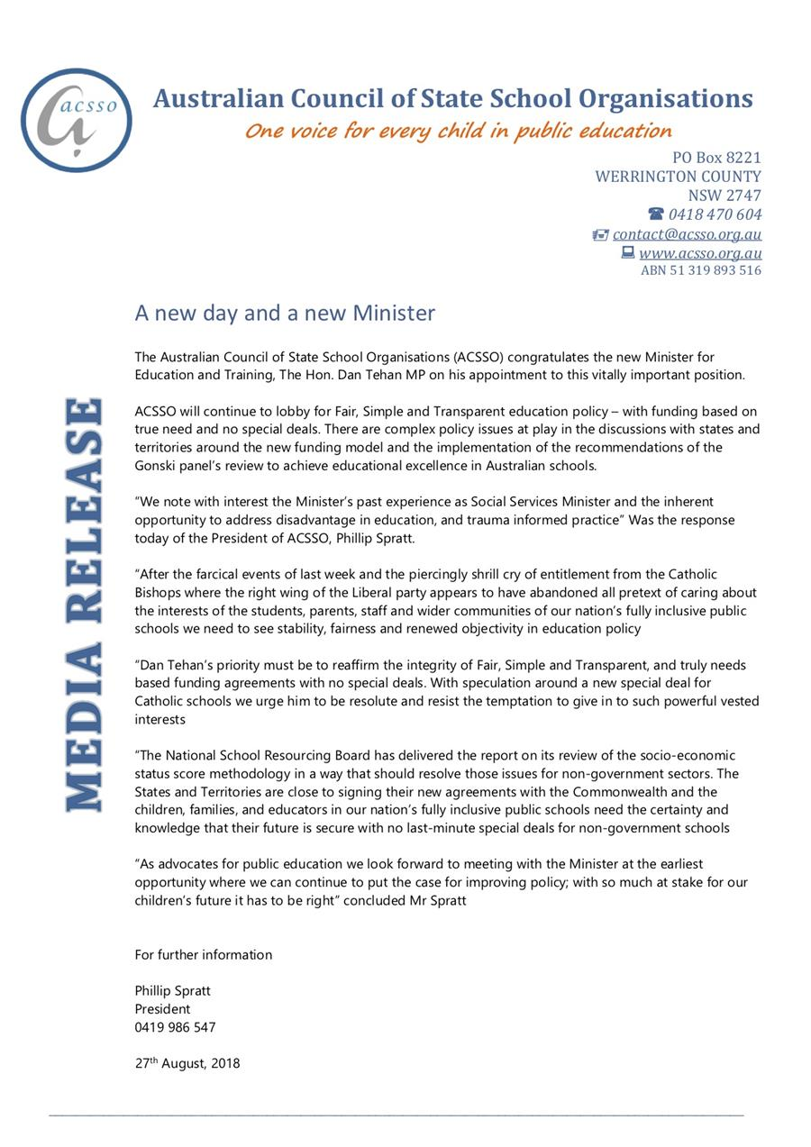 media release on new education minister