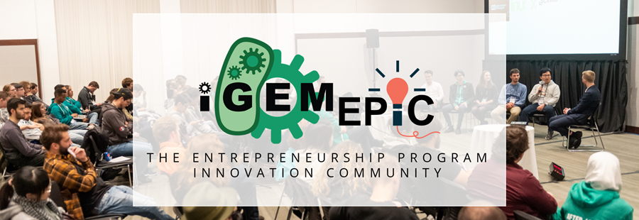 iGEM EPIC logo over photograph of crowd watching a panel of speakers at the iGEM Giant Jamboree event.