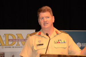 MAJGEN Gus McLachlan speaking at the Northern Australia Defence Summit in Darwin last week. As Land Force Commander he is responsible for 85 per cent of Army's force generation. Credit: ADM David Jones