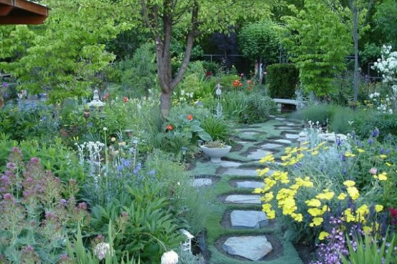 Garden path with spring flowers