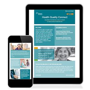 Bulletin de Qualité des services de santé Ontario comme on le voit sur un téléphone mobile et tablette.