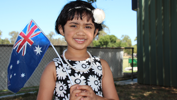 Young girls with Australian flag