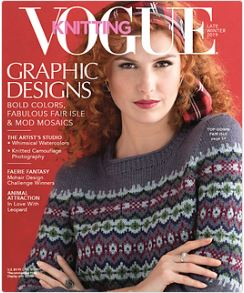 This is the cover image for Vogue Knitting magazine the late winter edition. The model is wearing a top down fair isle sweater. The articles include, graphic designs bold colors, fabulous fair isle and mod mosaics. The artist's studio whimsical watercolors and knitted camouflage photography. Faerie fantasy with mohair design challenge winners and animal attraction in love with leopard.