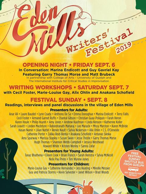This year's Eden Mills Writer's Festival is September 6 to 8, 2019.