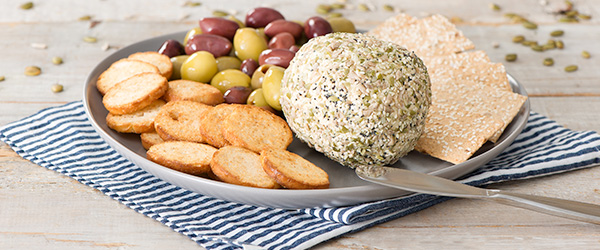 seed coated cheese ball
