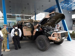 A Hawkei PMV(L) is on display outside the National Convention Centre in Canberra this week for MilCIS 2017. Credit: ADM Patrick Durrant