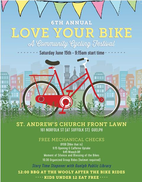 Participate in the 6th Annual Love Your Bike Festival. Details at http://guelphpl.libnet.info/event/2523471