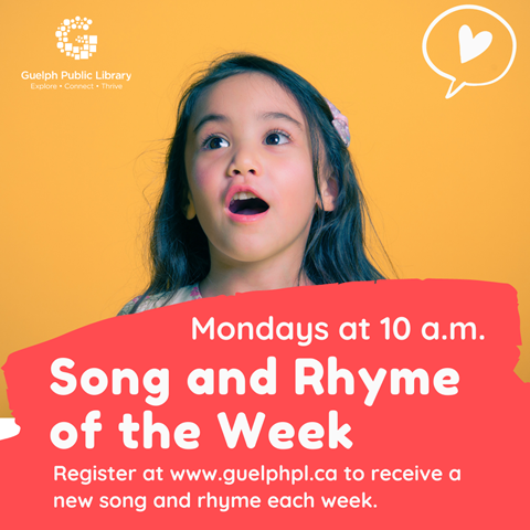 Singing and rhyming with your baby is not only fun but educational too. Register and receive a weekly link to new songs and rhymes delivered straight to your inbox. Ages birth to 2 years. Mondays at 10 a.m. Registration is required.