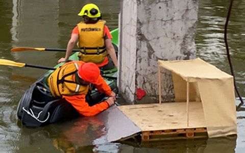 Installing rafts.