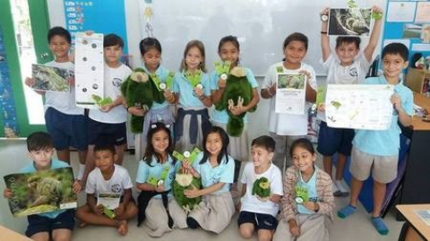 School kids from Panyadee showing their kākāpō project