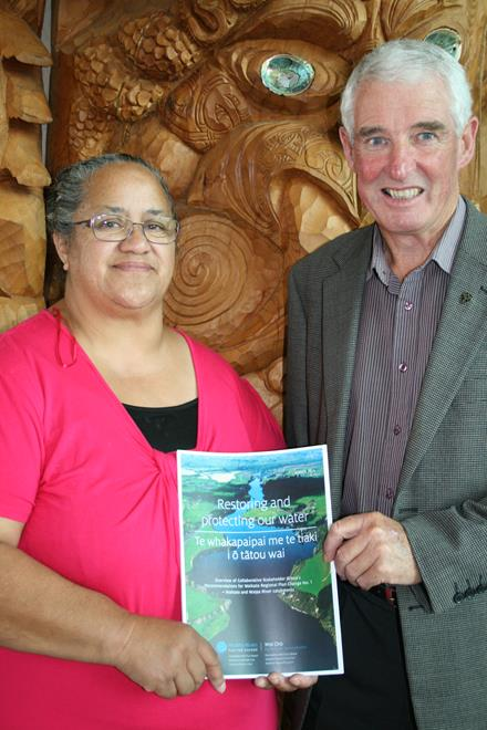 Co-chairs Kataraina Hodge and Alan Livingston at Hopuhopu yesterday with a copy of the report.