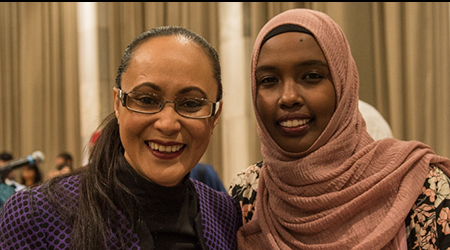 Hon Jenny Salesa, Minister for Ethnic Communities with Naima Ali one of the emcees for the evening.