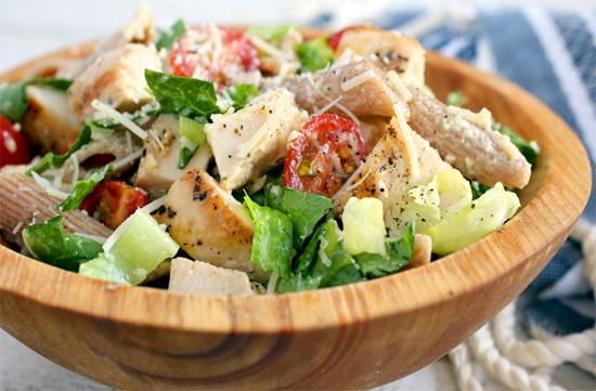 Chicken Caesar einkorn pasta salad
