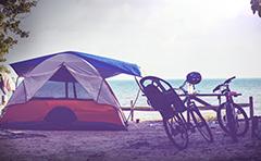 Tent near beach