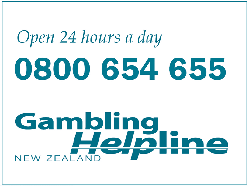Open 24 hours a day 0800 654 655 Gambling Helpline New Zealand