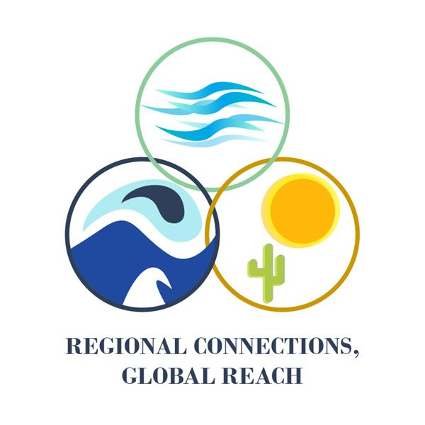 Regional connections, global reach. Three circles appear, one shows mountains, the other dessert, the third shows wind.