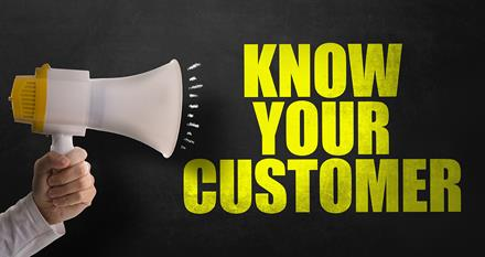 A megaphone announcing (in full capital letters) 'Know your customer'
