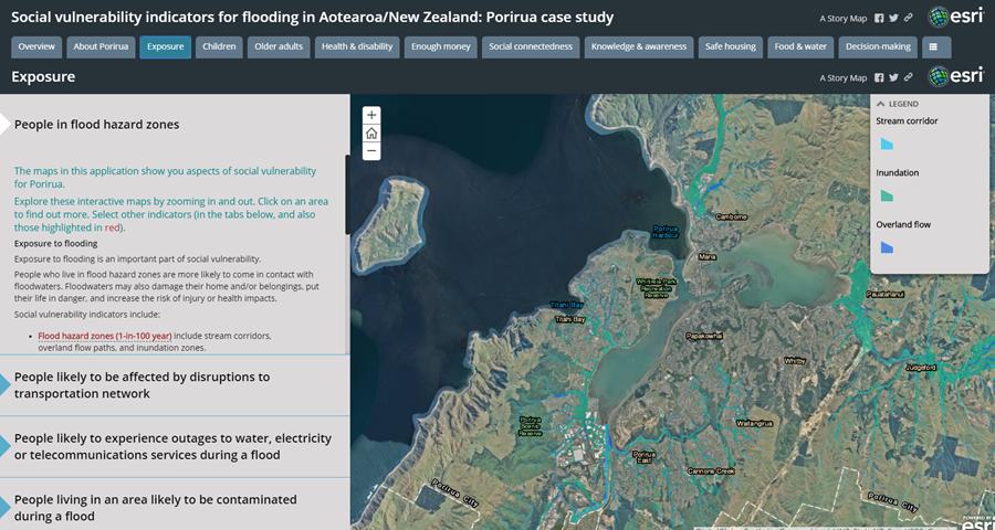 Storymap: social vulnerability indicators for flooding